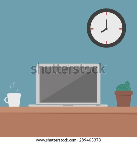 Flat design, computer desk, workplace - stock vector