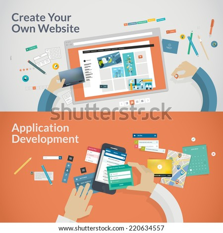 Flat design concept banners for websites and apps development  - stock vector