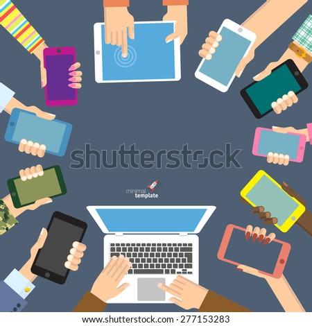 Flat design concept for digital communications - stock vector