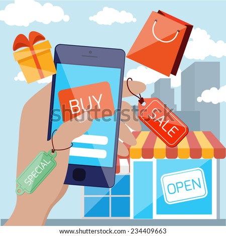 Flat design concept for mobile marketing and online shopping with hand holding smartphone with discount tags and touching button buy on urban background - stock vector