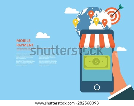Flat design concept for mobile payment and e-commerce - stock vector