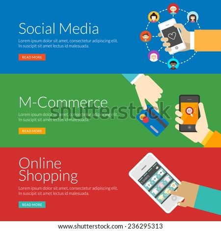 Flat design concept for social media, m-commerce and online shopping. Vector illustration for web banners and promotional materials - stock vector