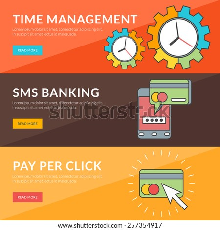Flat design concept for time management, sms banking, pay per click - stock vector