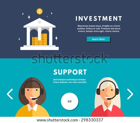 Flat Design Concept for Web Banners. Investment. Technical Support - stock vector