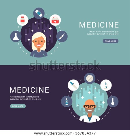 Flat Design Concept for Web Banners. Medical Icons and Objects in the Shape of Circle. Male and Female Doctor or Nurse Cartoon Characters. Vector Illustration in Flat Design Style - stock vector