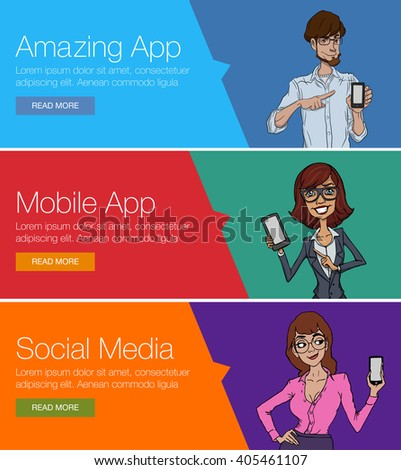 Flat design concept for website template - mobile app, smartphone, social media, business. Web banners or headers vector illustration. Web banner for presentation. Cartoon characters with mobile - stock vector
