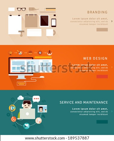 Flat Design Concept Icons and banners for  branding, web design and  service and maintenance - stock vector