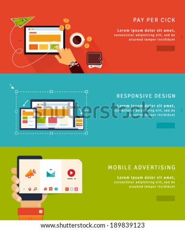 Flat Design Concept Icons and banners for pay per click, web design and mobile advertising - stock vector