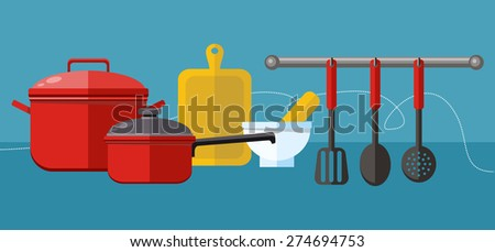 Flat design concept icons of kitchen utensils . Cooking tools and kitchenware equipment, serve meals and food preparation elements. Tool character - stock vector