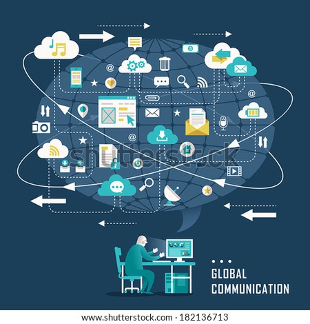 flat design concept illustration with icons of global communication - stock vector