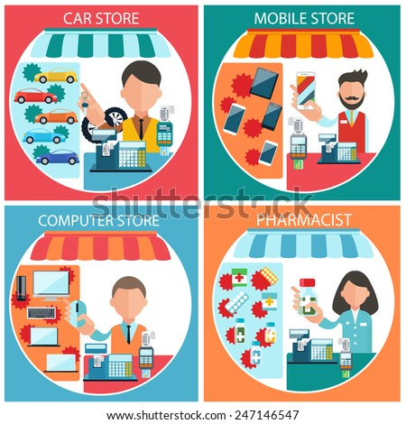 Flat design concept of car, mobile, pharmacist and computer store wit item icons on four multicolor banners - stock vector