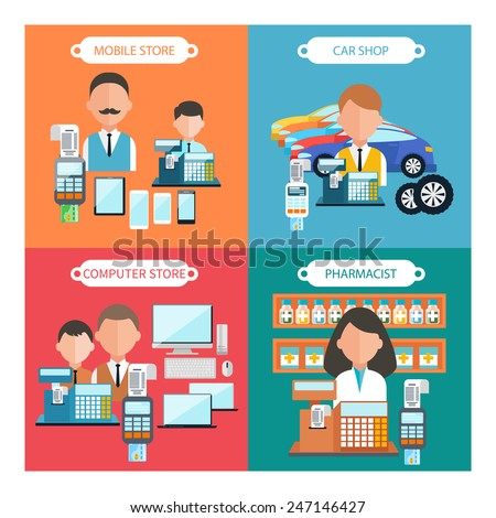 Flat design concept of car shop, mobile atore, pharmacist and computer store wit item icons on four multicolor banners - stock vector