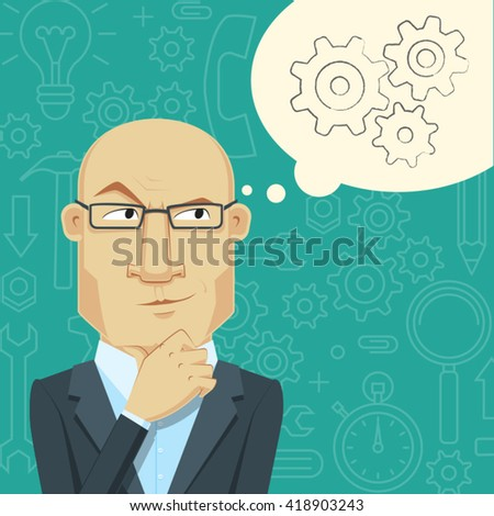 Flat Design Concept of Generate Ideas. A thinking man. The process of the emergence of new ideas. Cartoon vector  illustration. - stock vector