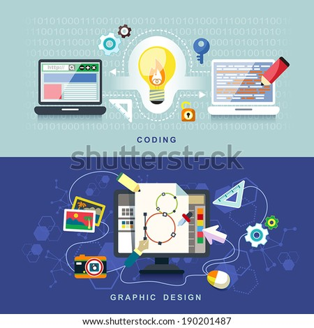 flat design concept of graphic design and coding - stock vector
