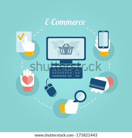 Flat design concept of online shop and e-commerce - stock vector