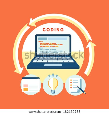 flat design concept of process web page coding and programming - stock vector