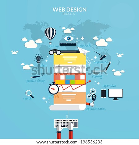 Flat design concept of responsive web design and internet advertising working process, isolated on stylish background. Vector - stock vector