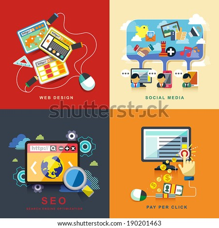 flat design concept of web design, seo, social media and pay per click  - stock vector