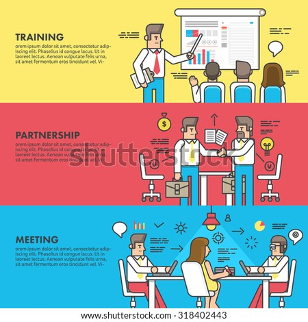 Flat design concept training partnership and meeting business. Vector illustrate line style. - stock vector