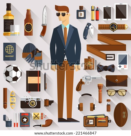 Flat design concept vector illustration of every day carry and outfit accessories, things, tools, devices, essentials, equipment, objects, clothes. Icons collection in modern colors. Stylish man - stock vector
