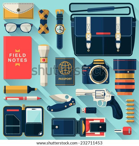 Flat design concept vector illustration of every day carry and outfit accessories, things, tools, devices, essentials, equipment, objects, items. Icons collection in stylish colors. Man workspace - stock vector