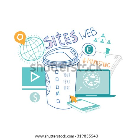 Flat design concepts fo r Content Marketing, Finding Target of Market, Mobile Banking. Concepts for web banners and promotional materials. - stock vector