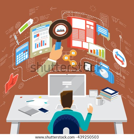 Flat design concepts for Business Consulting, Communication, Social Media Analystic. Concepts for web banners and promotional materials. - stock vector