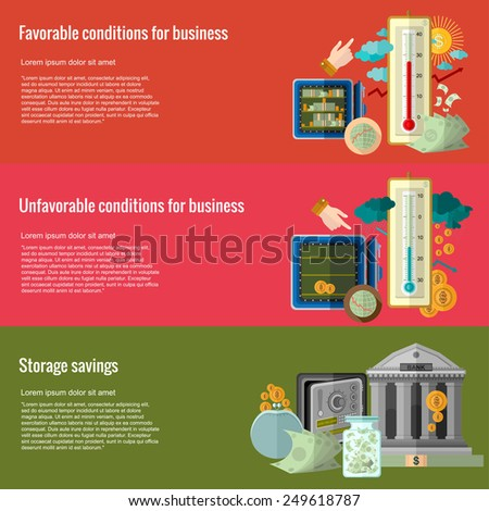 Flat design concepts for business.favorable conditions for business, unfavorable conditions for business, storage savings.Concepts for web banners and promotional materials - stock vector