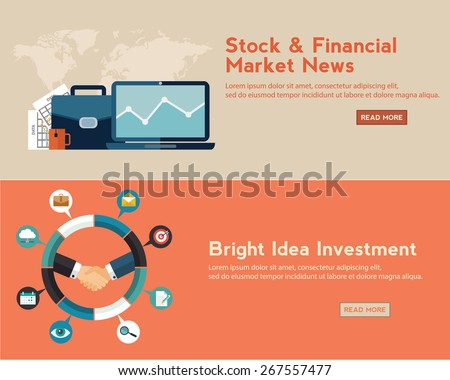 Flat design concepts for business, finance, stock market and financial market news, consulting, m-banking, online investing, crowdfunding. Concepts for web banners and promotional materials - stock vector