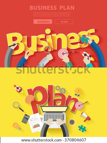 Flat design concepts for business plan analysis and planning, consulting, team work, project management, brainstorming, research and development, Vector illustration layout modern template top view - stock vector
