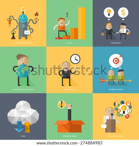 Flat design concepts for business strategy, search engine optimization, finance, achievement of objectives, consulting, support service, great idea - stock vector