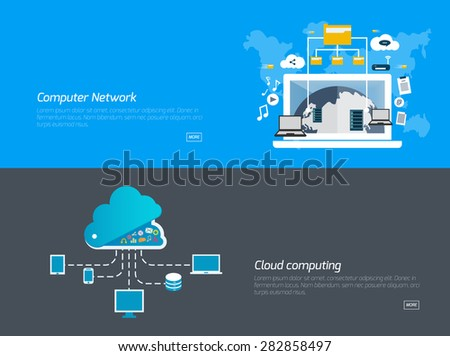 Flat design concepts for computer network, cloud computing. Concepts for web banners and promotional materials. - stock vector