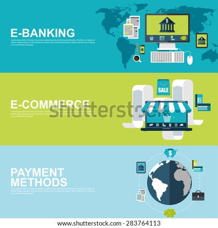Flat design concepts for e-commerce, e-banking and payment methods - stock vector