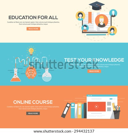 Flat design concepts for education for all,online courses and test your knowledge. Concepts for web banners and promotional materials.Vectors - stock vector