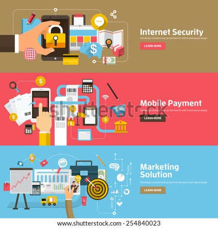 Flat design concepts for Internet Security, Mobile Payment, Marketing Solution. Concepts for web banners and promotional materials. - stock vector
