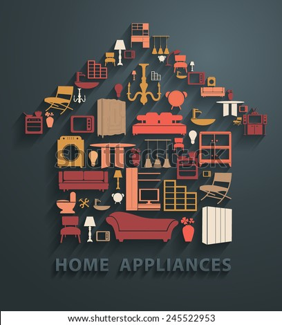 Flat design concepts home appliances icons, Vector illustration modern template - stock vector
