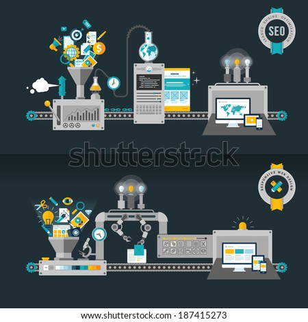 Flat design concepts, machines for web development and SEO. Concepts for web banners and printed materials.     - stock vector