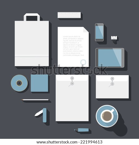 Flat design corporate identity mock-up template. Vector eps10 with transparency. - stock vector