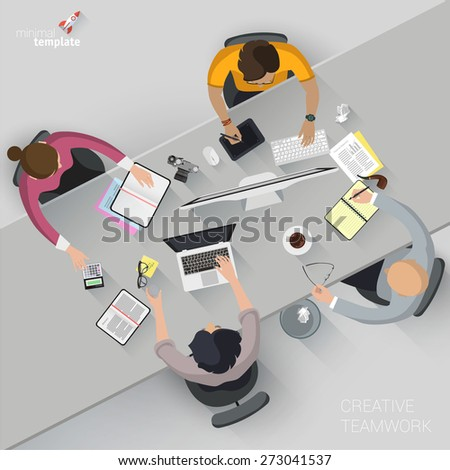 Flat design creative office workspace. Vector template.  - stock vector