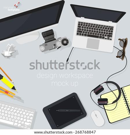 Flat design creative studio designer's workspace. Minimalist vector. - stock vector