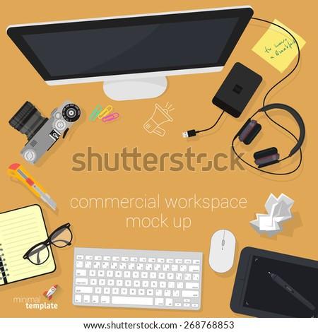 Flat design creative studio  workspace. Minimalist vector. - stock vector