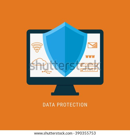 Flat design data security. Shield on computer protect sensitive data. Internet security. Vector Illustration. - stock vector