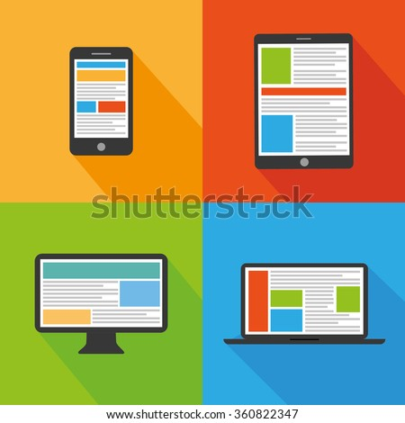 Flat design devices icons  - stock vector