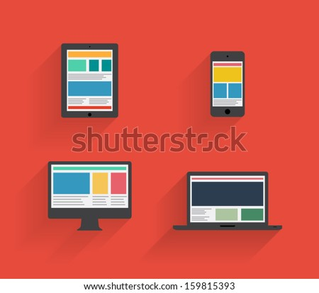 Flat design devices icons with long shadow, phone, smartphone, tablet, computer, connection. Clean and modern style - stock vector