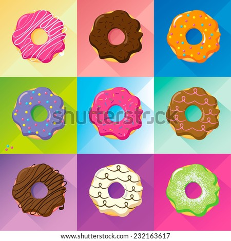 Flat design donuts  set, vector image whit long shadow. Tastes and colors: green pistachio, red strawberry, candied fruits, white and black chocolate, brown hazelnut, whit glaze and sprinkles.  - stock vector