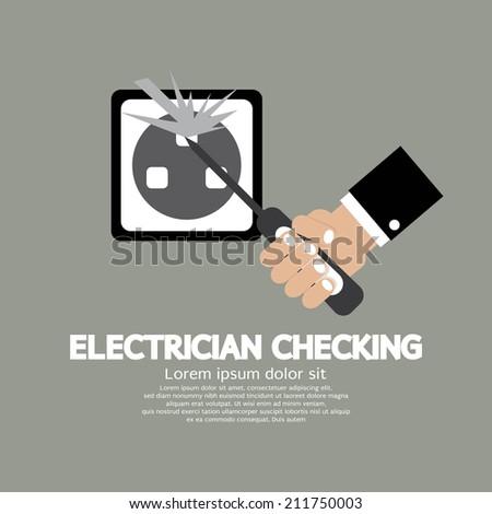 Flat Design Electrician Checking Vector Illustration - stock vector