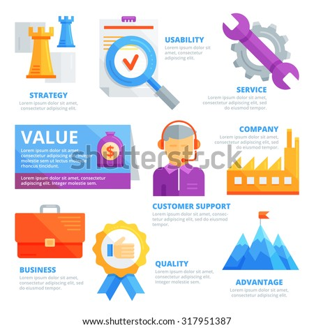 Flat design elements of value, strategy, usability, service, company, customer support, business, quality, advantage. Infographic vector template. - stock vector