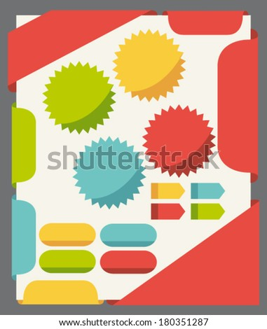 Flat design elements set for website template. Vector set.  - stock vector