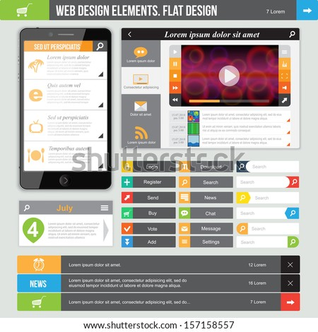 Flat Design elements. Video player, Web Templates can be used for website or applications.  - stock vector