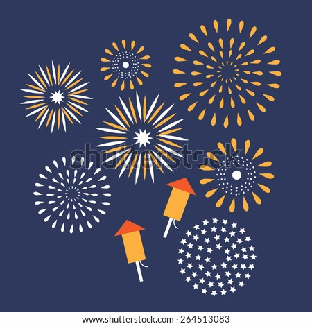 Flat design fireworks EPS10 vector royalty free stock illustration for greeting card, ad, promotion, poster, flier, blog, article, ad, marketing, retail shop, brochure, signage - stock vector